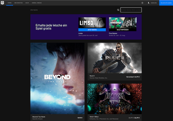 Screenshot vom Epic Games Store für PC-Spiele